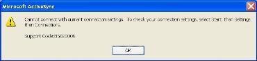 ActiveSync 4.1 error msg box