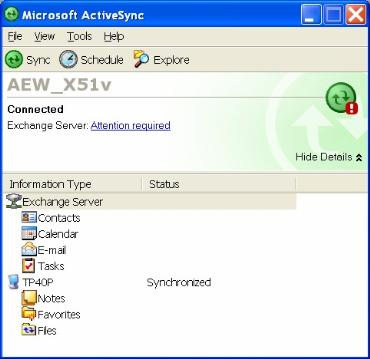ActiveSync 4.1 error