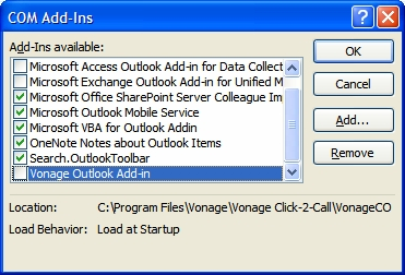 Outlook Manage COM Add-ins