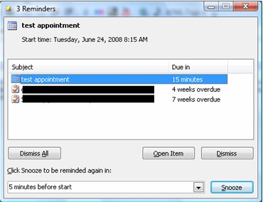 Outlook reminder snooze
