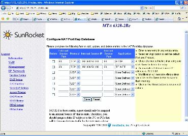 SunRocket router port forwarding