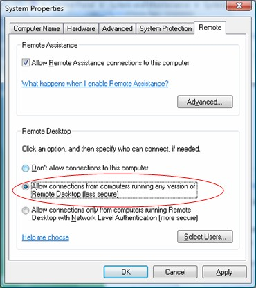 WinAdmin RDP settings