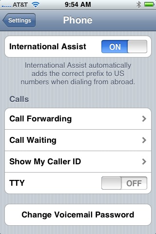 international dialing code setting